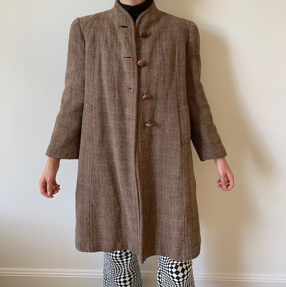 1940s Brown Tweed Coat with Shoulder Pads and Leat