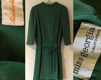 Taille de Miss Géorgie baisse taille vert Secrétaire Mod robe Vintage 1960