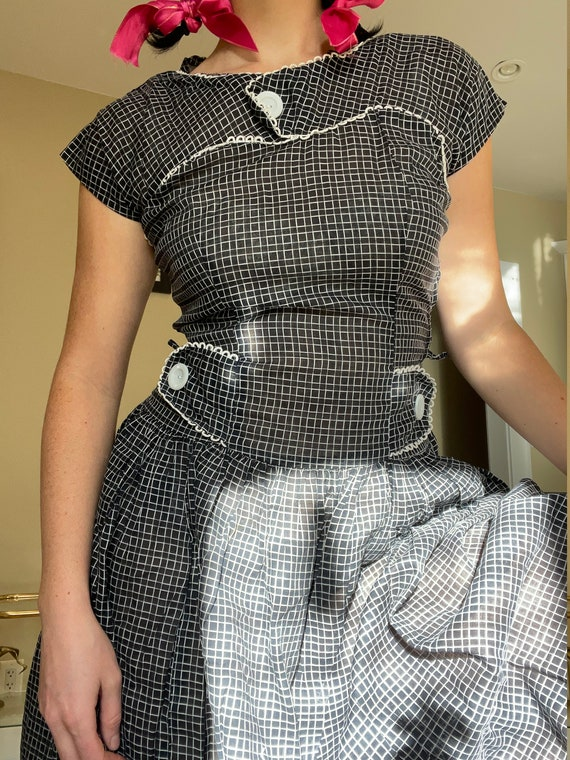 1940s Black and White Plaid Shirtdress size Small