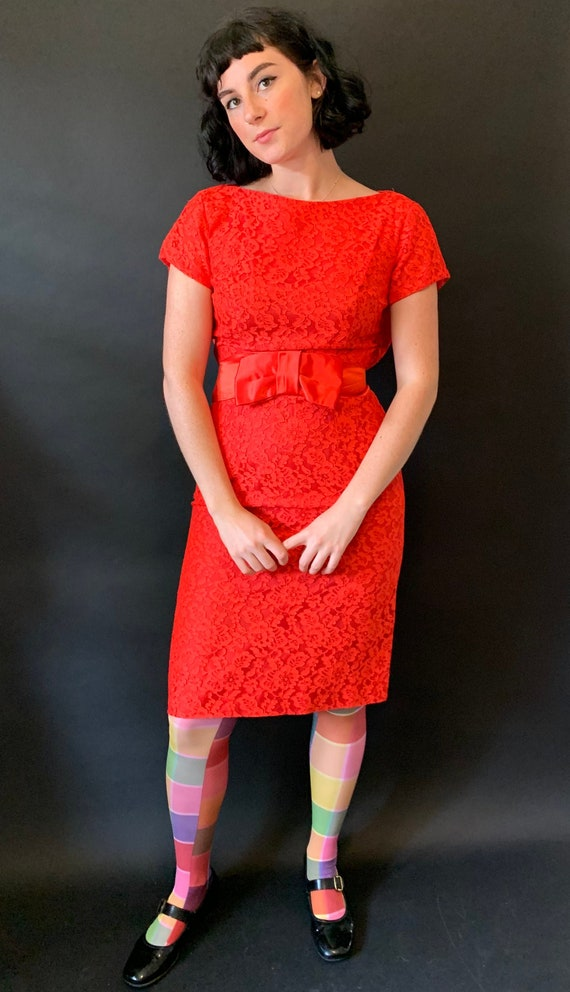 1950s Carol Craig Red Lace Pencil Dress with Bow s
