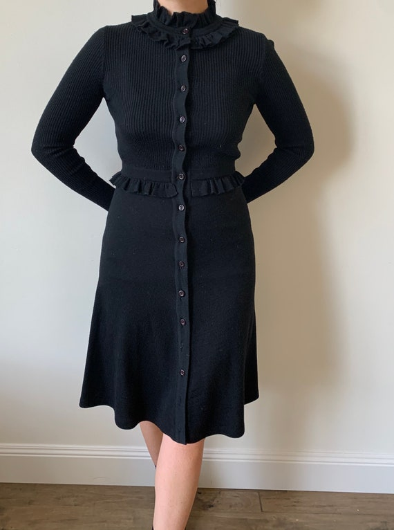 1970s Roncelli Ribbed Knit Black Dress size Small