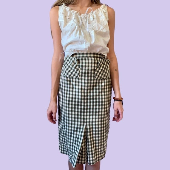 40s Gingham Skirt Black White XS 24 Waist AS IS