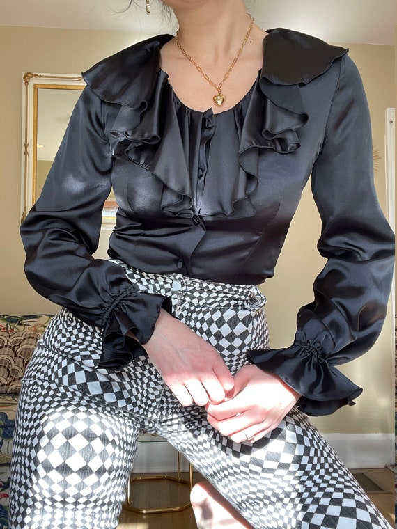 1970s Black Satin Blouse with Ruffle Collar size X