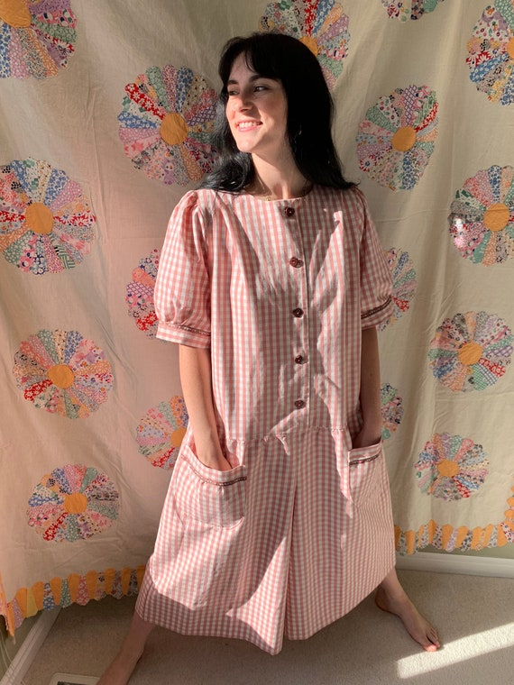 1980s Pink And White Gingham Plus Size Romper by Etsy