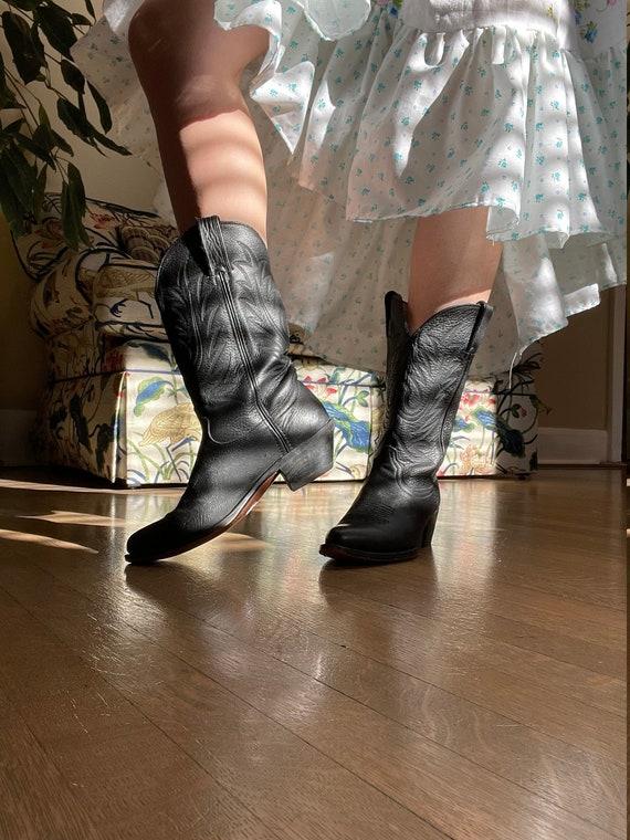 1980s Durango Black Leather Cowboy Western Boots s