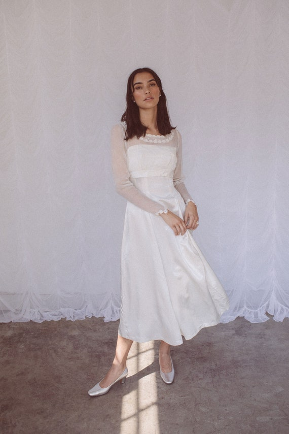 1960s Sheer Long Sleeve Satin Tea-Length Wedding D