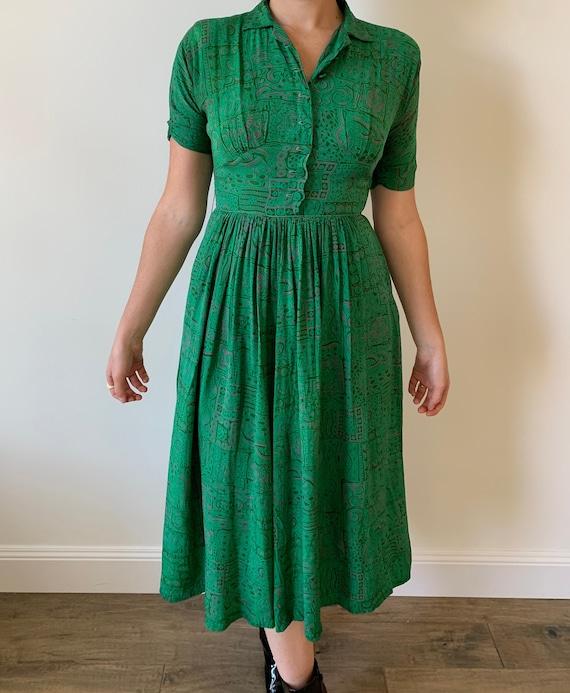 1950s Rosenfeld Original Emerald Green Silk Shirtd