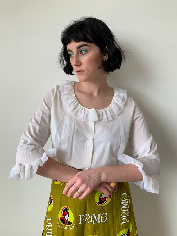 1950s White Tricot White Ruffle Blouse with Ruffle