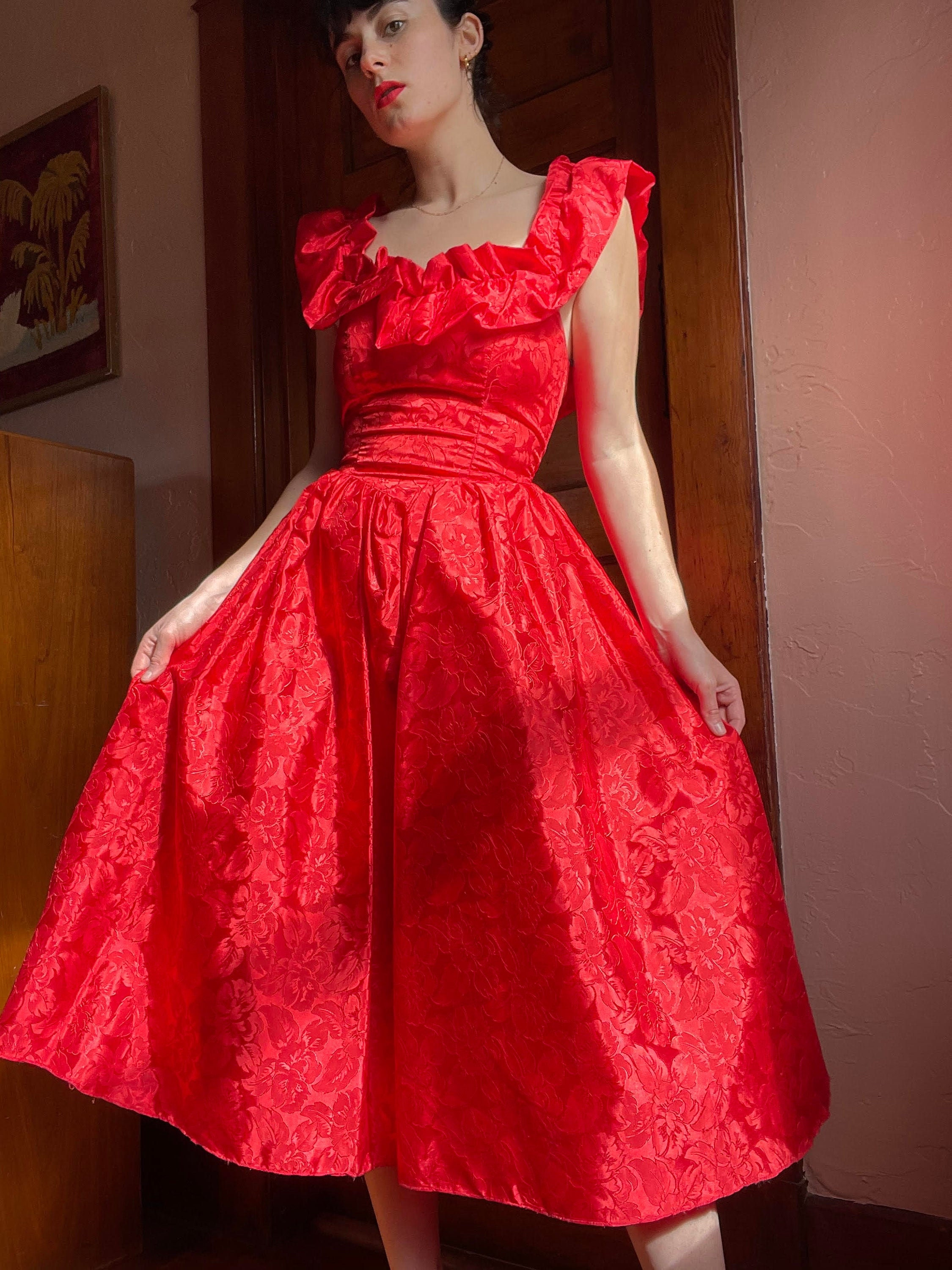 80s Dresses | Casual to Party Dresses 1980S Lipstick Red Party Dress With Yoked Waist, Full Skirt,  Ruffle Neckline Size Small $0.00 AT vintagedancer.com