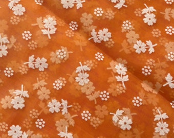 """Vintage 44"""" Orange and White Flocked Dotted Swiss Floral Daisy Fabric Heirloom Sewing Chiffon 1yd"""