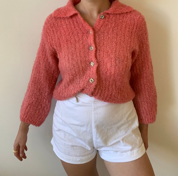 1950s Hedy Strawberry Pink Knit Sweater with Colla