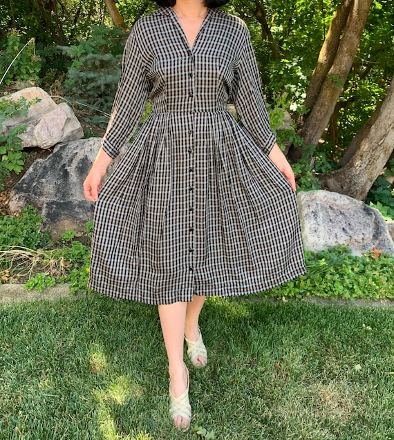 1950s Plaid Shirtdress with Dolman Sleeve size Med