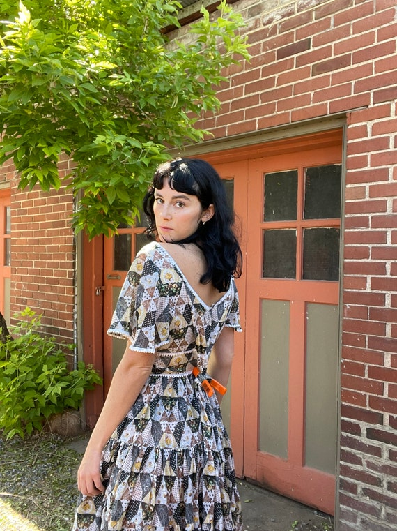 1960s Patchwork Cotton Voile Dress with Peasant T… - image 3