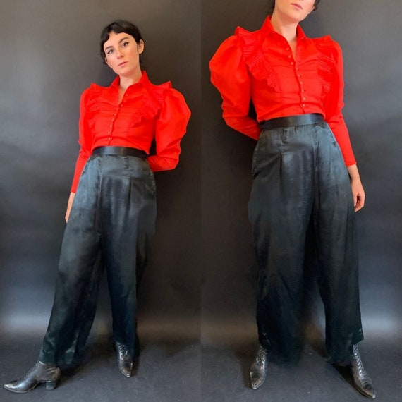 1930s Black Wide Leg Satin Trousers size Small Med