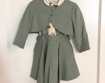 Vintage Sax Fifth Avenue 3-Piece Red and Green Jumper Suit / Size 3T