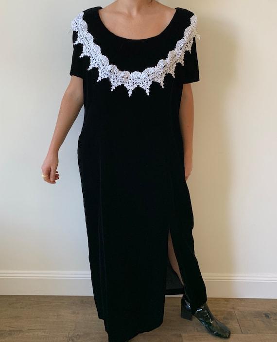 1990s Black Velvet Maxi Dress with White Crochet … - image 1