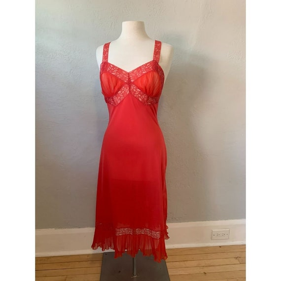 Late 1940s Kayser Red Nylon and Lace Slip Nightgow