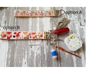 Foxes Theme Key Fob -Wristlet -You Choose -Notions -Crochet Accessories -Knit Accessories -Key Chain -Notion Pouch -Keyfob -Wristlet
