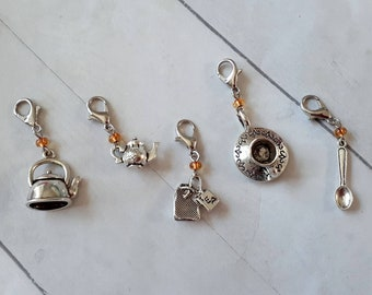 Gift For Knitters Crochet Markers Zipper Pull : Frosted Bead Teapot Charm Progress Keeper Knitting Accessories Free Shipping