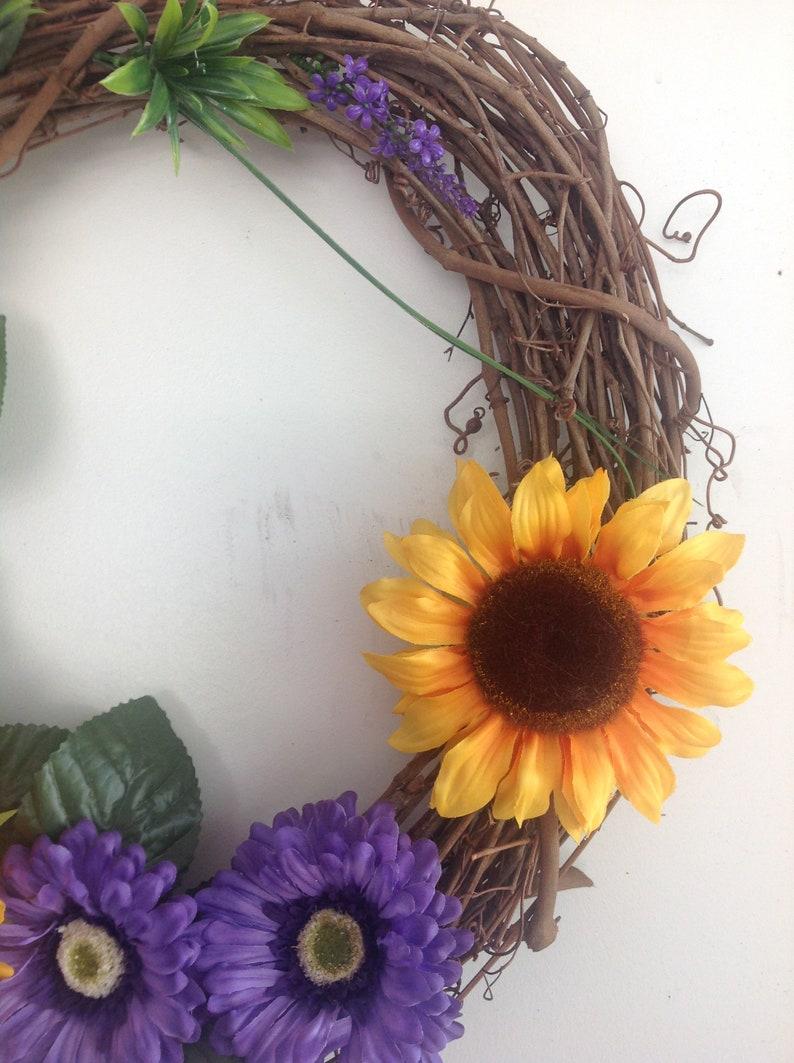 Spring Wreath Sunflower Grapevine Wreath Yellowpurple Wreath Wreath Yellow Wreath Summer Wreath Sunflower Wreath