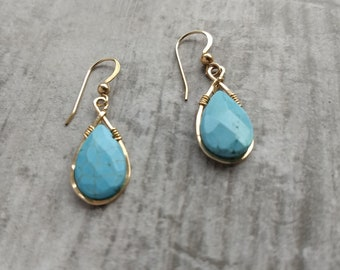 Gold-filled hammered turquoise D drop earrings