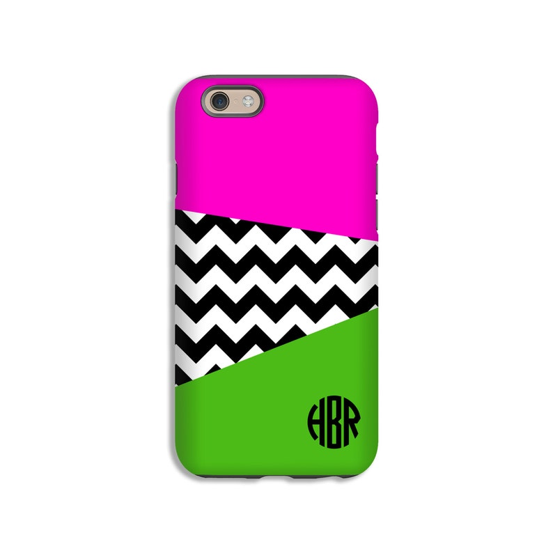 on sale c413b 1c609 Monogram iPhone 7/7 Plus case, pink and green iPhone XS case, iPhone 8/8  Plus case, chevron iphone 6s/6s Plus/6/6 Plus case, customized gift