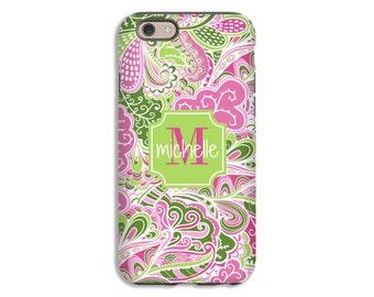 Monogram iPhone 8 case, pink zentangle iPhone 8 Plus case, iPhone X case, iPhone 7 Plus case, iphone 7/6s/6s Plus/6/6 Plus cases monogrammed