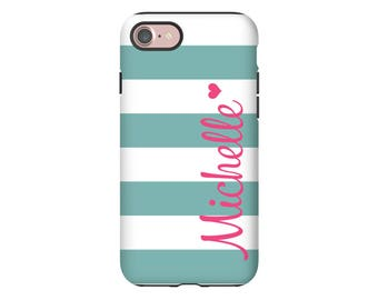 Personalized iPhone 8 case/8 Plus, striped iPhone X case, iPhone 7/7 Plus case, iPhone 6s Plus/6s/6 Plus/6, tough iPhone cases
