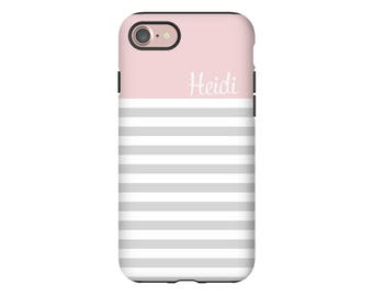 Personalized iPhone 8 case, striped iPhone 8 Plus case, iPhone 7/7 Plus case, iPhone X case, iPhone 6s/6s Plus case, personalized gift