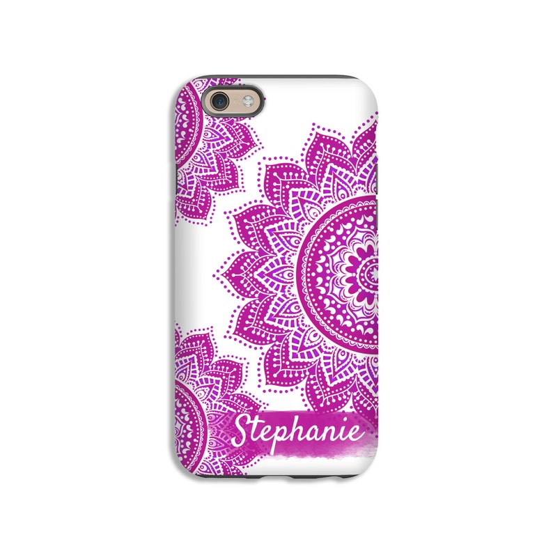 Mandala iPhone case boho iPhone XS case pink mandala iPhone image 0