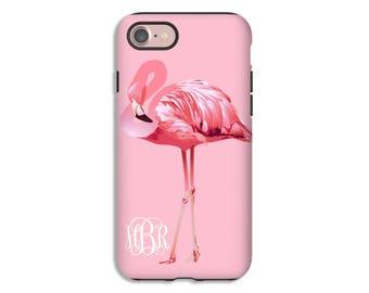 Flamingo iPhone case, monogram iPhone 8 case, iPhone 8 Plus case, iPhone X case, iPhone 7, iPhone 7 Plus case, iPhone 6s/6s Plus/6/6 Plus