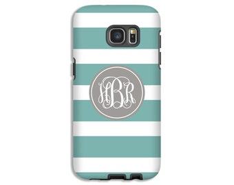 Monogram Galaxy S8 case, teal Galaxy S8 Plus case, striped Galaxy Note 8 case, Galaxy S6/S5 case, girls Galaxy case, 3D Galaxy cases