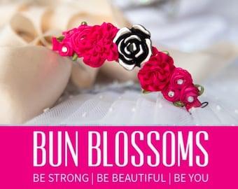 """Bun Blossoms """" Raspberry """" Bun Pin ( ballet bunwrap, flower, bunpin, bunflowers, hair garland)"""