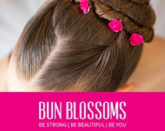 Fuchsia Mulberry Pin Blossoms (ballet bunwrap, flower, bunpin, bunflowers, hair garland)
