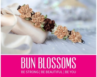 """Floral Collection """" Chocolate Chip """" Bun Blossoms (ballet bunwrap, bunpin, bunflowers, hair garland) perfect for prom, formals, brides"""