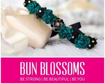 Bun Blossoms Esmeralda ballet bunwrap (last one) - Perfect for variations -  satin flowers & hair garland for prom , weddings , bridal updos