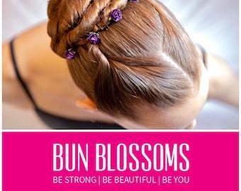 Purple Mulberry Pin Blossoms (ballet bunwrap, flower, bunpin, bunflowers, hair garland)