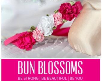 Petite Bun Blossoms Vintage Rose Ballet Bun Wrap or Flower pin in Bunflowers, pink bridal bridesmaid & flower girl  hair garlands