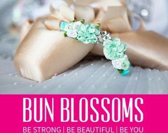 """Bun Blossoms """"Mist"""" Bun Pin (ballet bunwrap, flower, bunpin, bunflowers, hair garland)"""