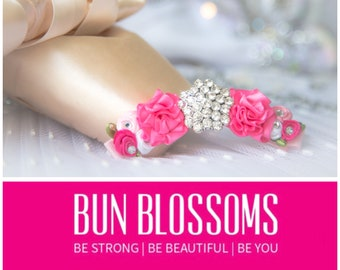 "Bun Blossoms ""Hannah Grace: Rose Blush"" Bun Pin (ballet bunwrap, flower, bunpin, bunflowers, hair garland)"