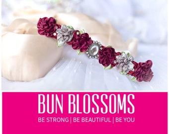 "Bun Blossoms "" Bordeaux"" Burgundy, maroon, grey silver sparkle floral bunwrap / hair piece for ballet, flower girls, bridesmaids &  formals"