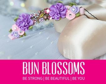 "Bun Blossoms "" Fairytale "" Bun Pin (ballet bunwrap, flower, bunpin, bunflowers, hair garland)"