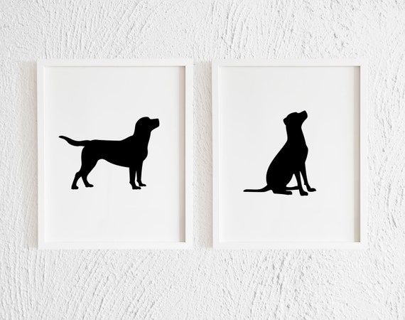 graphic relating to Printable Silhouettes identified as Labrador Retriever Silhouettes Artwork Print. Black and White Progressive Printable Labs Contour Wall Decor. Minimalist Puppy Profiles. Mounted of 2.
