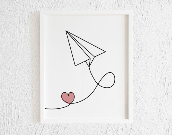 Paper Plane With Pink Heart Drawing Print Printable Etsy