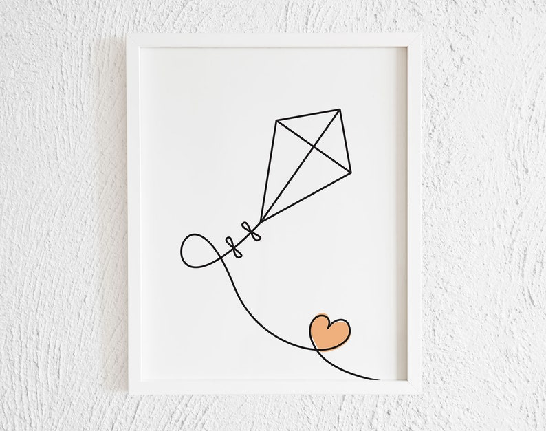 image about Kite Printable known as Kite With Orange Centre Drawing Print. Printable Minimalist Kite Doodle Wall Decor. Progressive Traveling Kite Gallery Wall Artwork. Electronic Print.
