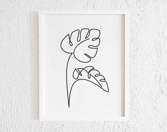 Palm Leaves One Line Drawing Doodle Print Printable Etsy Tropical leaves and flowers doodles drawing ideas/ bullet journal dood. palm leaves one line drawing doodle print printable minimalist monstera palm leaves wall art decor botanical line art tropical plant