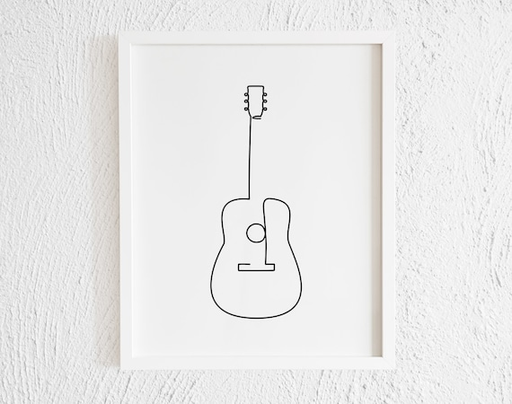 Guitar Drawing Print Printable Minimalist Guitar Doodle Wall Etsy