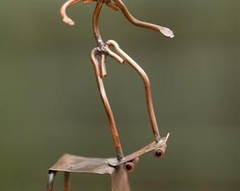 Copper Art Figurine Skateboarder