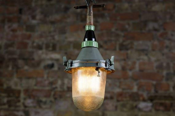 Medium Soviet Original Industrial Gray Factory Cage Lamp Etsy