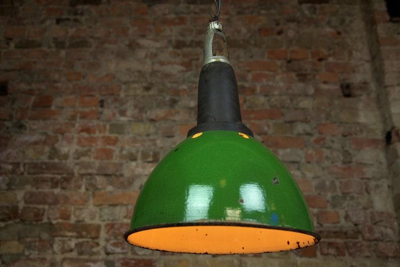 Lampada Vintage Industriale : Lampada industriale verde smalto lampada vintage fabbrica etsy